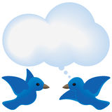 Bird thought. Blue birds meet with a thought bubble cloud Stock Photos