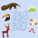 Bird toucan anteater and deer on blue background labyrinth game for Preschool Children. Vector Stock Image