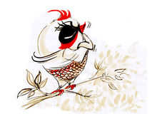 Bird touchy acting character design Royalty Free Stock Photography