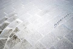 Bird tracks on the snow-covered square tile in the park in winter stock photo
