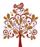 Bird in a tree. Beautiful bird in beautiful stylized tree Stock Photos