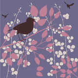 Bird in a tree. Birds in a garden - seasonal floral background stock illustration