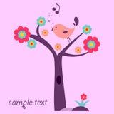 Bird on the tree. Cute bird on the tree vector illustration