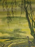 Bird and tree. This is a photocopy of my own picture, watercoloured painting. In traditions of old Japanese painting. A tree and a bird in green colours Royalty Free Stock Photos