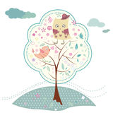 Bird and tree background. Owl and bird on tree, cute cartoon card stock illustration