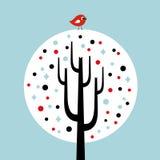 bird and tree card design Stock Image