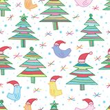 Bird tree Christmas line seamless pattern vector illustration