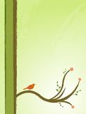 Bird in a tree illustration. Bird in a tree; abstract, ornamental background with flowers and leafs Stock Image
