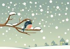 Bird on tree. One bird on tree in winter Vector Illustration