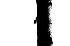 Bird and tree trunk silhouette - 3. Black and white contrast silhouette of bird and tree trunk. Conceptual abstract composition royalty free illustration