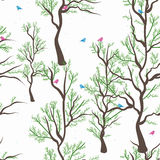 Bird tree view seamless pattern Stock Photo