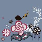 Bird and tree wallpaper Stock Image