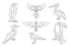 Bird triangular icon set. Royalty Free Stock Photography