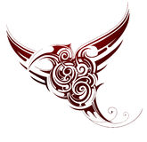 Bird tribal tattoo. Flying bird tribal tattoo isolated on white Royalty Free Stock Image