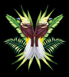 Bird with tropical banana leaves in mirror style Stock Images