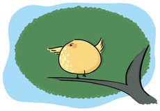 Bird tweeting on a tree illustration. Yellow bird tweeting cartoon; An illustration of a bird chirping on a tree Royalty Free Stock Image
