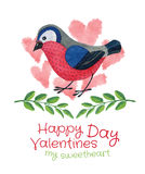 Bird with twigs and hearts card Royalty Free Stock Image