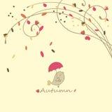 Bird with umbrella. Autumn illustration with little bird holding umbrella Stock Images