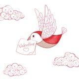 Bird with valentine card Royalty Free Stock Photos