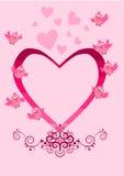 Bird Valentine card. Bird Pink Valentine card illustration Royalty Free Stock Photo