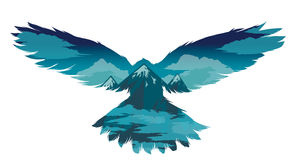Bird vector illustration with double exposure effect. Royalty Free Stock Photos