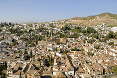 Bird view of the Albaicin in Granada Royalty Free Stock Image