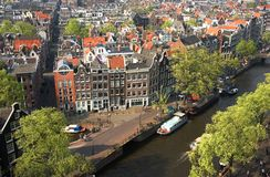 Bird view of Amsterdam. The Netherlands Royalty Free Stock Photo