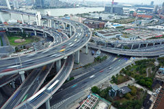 Bird view at Asia's largest across the rivers in a spiral bridge Royalty Free Stock Images
