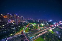 Beautiful Semanggi road intersection at night. Bird view of the beautiful Semanggi road intersection in the central business, shot at night time Royalty Free Stock Images