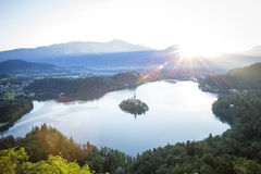 Bird view on Bled lake in Slovenia Stock Image