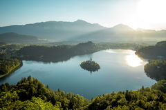 Bird view on Bled lake in Slovenia Royalty Free Stock Photos