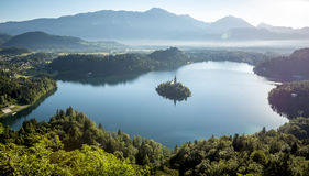 Bird view on Bled lake in Slovenia Stock Images