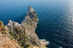 Bird view on cape in sea. Bird view on cape in Mediterranean sea Royalty Free Stock Images