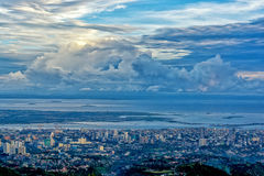 The bird view of the Cebu city. The beautiful bird view of the Cebu city from the tops outlook of the Phlippines Stock Photo