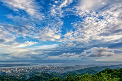 The bird view of the Cebu city. The beautiful bird view of the Cebu city from the tops outlook of the Phlippines Royalty Free Stock Photo