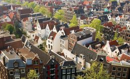 Bird view of central Amsterdam. The Netherlands Royalty Free Stock Image
