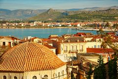Bird view of central Nafplion with red tile roofs Stock Photos