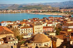 Bird view of central Nafplion with red tile roofs Stock Image