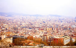 Bird view of city Barcelona in a cloudy day Stock Photography