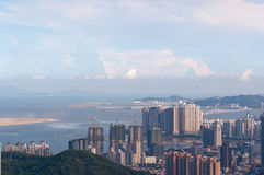 Bird view cityscape of Zhuhai, China. Zhuhai, China - bird view cityscape of Zhuhai, China, Shot from Banzhangshan (Banzhang Mountain), the highest mountain in royalty free stock photo