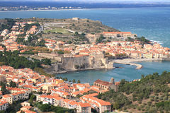 Bird view Collioure, South of France Stock Photos