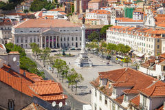 Bird view of Dom Pedro IV square in Lisbon Royalty Free Stock Images