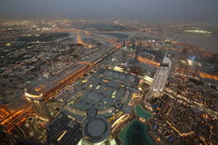 Bird View of Dubai from the Top of Burj Khalifah Royalty Free Stock Images