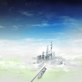 Bird view focused to modern city of future in mist. Illustration Royalty Free Stock Photo