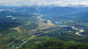 Bird view of the jasper town Royalty Free Stock Photo