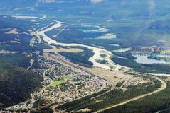 Bird view of the jasper town Stock Photos