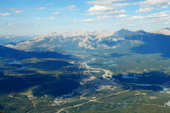 Bird view of the jasper town Stock Photo