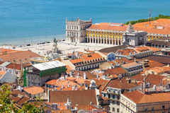 Bird view of Lisboa downtown Royalty Free Stock Image