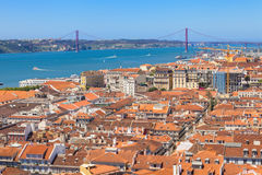 Bird view of Lisboa downtown Stock Images