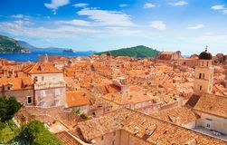 Bird view of old town Dubrovnik Royalty Free Stock Image